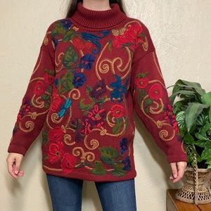 Vintage Embroidered Turtle Neck Knit Sweater